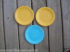 "HOMER LAUGHLIN Fiesta Vintage 3 Bread Plates 7-3/8"" old blue yellow"
