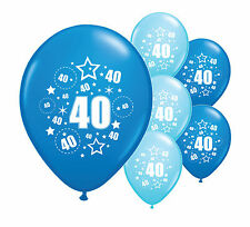 "10 x 40TH BIRTHDAY BLUE MIX 12"" HELIUM OR AIRFILL BALLOONS (PA)"