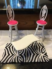 Barbie Glam Vacation House White Table Tall Chairs Rug Blanket Parts Pieces