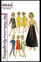 "Simplicity 6244 Fashion DOLL Fabric Sewing Pattern TAMMY Jan 12"" Vintage Barbie"