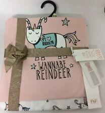 BNWT F&F Damas Rosa Talla 12-14 Navidad Pijamas Conjunto Reno Unicornio Sparkle