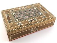 INTRICATE INLAID WOOD MARQUETRY JEWELRY TRINKET BOX VINTAGE T994