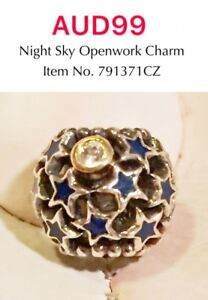Pandora Silver And Gold Two Tone Night And Sky Openwork Charm With CZ, 791371CZ