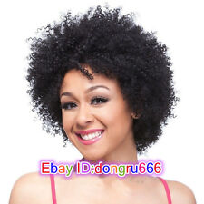 2017 Black Women's Short Afro Fluffy Pixie None Lace Kinky Curly Curls Hair Wigs