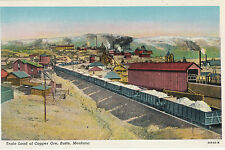 Vintage Butte Montana Rr Train Load of Copper Ore Tinted Silver Bow Postcard