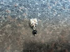 AUTHENTIC PANDORA 925 ALE SILVER DANGLE DROP BLACK ONYX BRAID CHARM 790388O