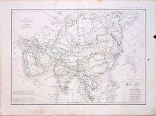 Carte Physique et Politique de l'ASIE 1856, L. Dussieux. 33.5 x 44 cm.