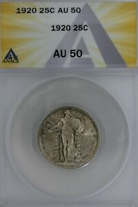 1920  .25   ANACS   AU 50   Standing Liberty Quarter, Liberty 25 Cents
