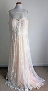 Michelle Bridal Plus Size Sleeveless Wedding Gown, Blush, Lace Overlay, Size 18