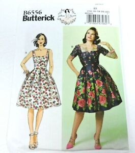 Butterick B6556 Sewing Pattern Women Size 14-22 Gertie Dress Retro New Uncut