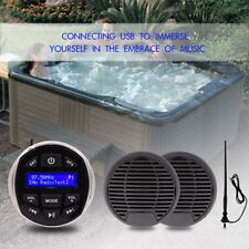 "Marine Waterproof Boat Radio FM DAB USB AUX BT A2DP 2pc 3"" black speaker antenna"