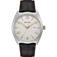 Bulova Men's Quartz Brown Leather Silver Dial Date Display 41mm Watch 98B347