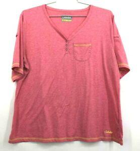 Cabelas Mens 2XL Pink Heather Lightweight Short Sleeve Casual Everyday Shirt