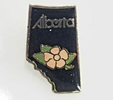 Alberta Canada Pin Tie Tack Goldtone Black with Pink Flower Wild Rose Enameled