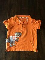 Gymboree Toddler Boys Short Sleeve Polo Tee Shirt, Size 2T, Orange, Dinosaur