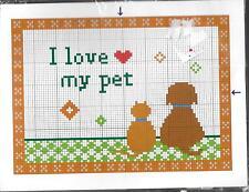 """I Love My Pet"" Counted Stitch Kit Size 5"" x 7"" Humane Society US Unopened"