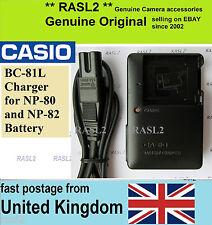Genuine CASIO Charger BC-81L,NP80 NP82 Exilim EX-G1 EX-H5 EX-S5 EX-S6  EX-S7 ZS5