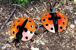 Set of 2 Black and Red Handcrafted Metal Ladybug Garden Art Made in the USA