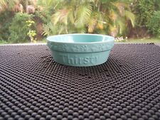 "Signature Housewares Embossed Pet Bowl In Turquoise Embossed ""Thirsty"" Nwot"