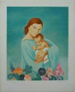 Nicole ANDRE - Lithographie signée numérotée lithograph maternité enfant