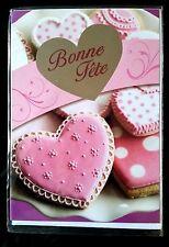 """D24) Carte """"Bonne Fête"""" avec Coeur Rose + enveloppe"""