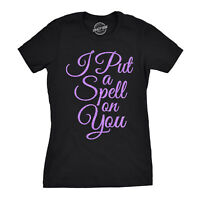 Womens I Put A Spell On You Tshirt Funny Halloween Tee For Ladies (Purple