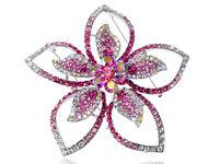 New Floral Flower Pink Crystal Rhinestone Fashion Statement Brooch Pin Jewelry