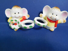 Pre-Owned Vintage Treasure Masters Bone China Mouse Candle Climbers/Huggers Set