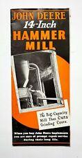 John Deere 14 inch Hammer Mill Advertising Farm Tractor Brochure Vintage