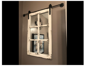 Window Mirror Wall Wood Accent Rustic White Weathered Vintage Barn Hall