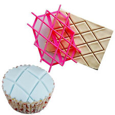 Cake Rhombus Quilting Cookies Biscuit Letter Icing Embosser Fondant Mold Cutter