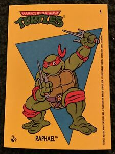1989 Topps Teenage Mutant Ninja Turtles Sticker Card #1 Raphael BRAND NEW