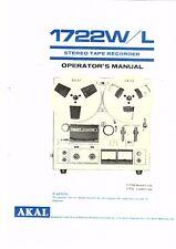 Akai Manual User Manual Owners Manual for 1722 W/L