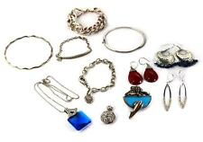 Vintage Lot of 11 Mix Jewelry 925 Sterling Silver Zirconia &Gems LIQUIDATION