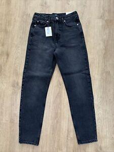 River Island Brooke Black Jeans High Rise Waist Slim Leg Size 8R BNWT RRP £42