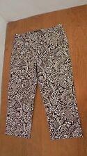 Peck & Peck Women Cropped Capri pants Sz 14 Brown White Abstract Patterned