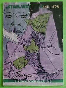 YODA sketch art MACE WINDU topps ANIMATOR CARD star wars SERGIO PAEZ clone 2008