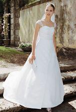 David's bridal Wedding dress gown beaded Satin GUC  white size 10 T8612 chapel