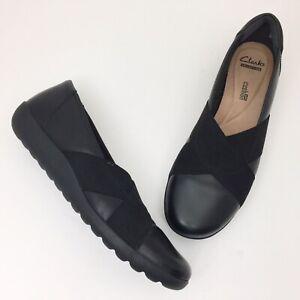 CLARKS Collection Medora Jem Black Leather Elastic Cross Strap Loafer - Size 10M