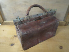 Ancienne valise de type docteur ou instituteur en cuir vintage old leather bag