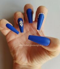 12 Hand Painted Gel False Nails - Extra Long Tapered Coffin Blue Matte Diamante