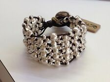 "NWT Uno de 50 Silver-Plated Beaded/Leather/ Bracelet 7"" ""Crazy Goat"" $185"