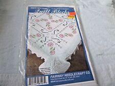 """Wild Flower Quilt blocks to embroider 6 polycotton 17 1/4"""" sq"""
