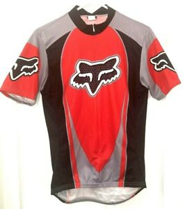 FOX Mens Size Medium Cycling Jersey Short Sleeve Black/Red Bicycle 3/4 Zipper