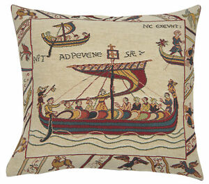 Les Normands Bayeux Boat Woven French Tapestry Cushion Pillow Covers Decor (New)