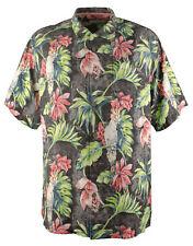 Tommy Bahama Mens Tahitian Tweets 100 Silk Camp Shirt Black 3xlt