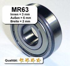 10 Stk. Radiales Rillen-Kugellager MR63- 3 x 6 x 2 mm