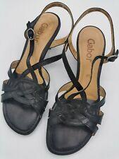 Gabor ladies small heel sandals black slingback size 4.5 leather