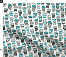 Coffee Latte Cafe Tea Kitchen Food Fabric Printed by Spoonflower BTY