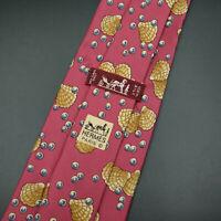 Hermes Paris Made In France Clam Pearl Pattern Silk Tie 7495 IA